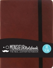 Hide Stationery Ltd Monsieur Notebook Brown Leather Plain Small