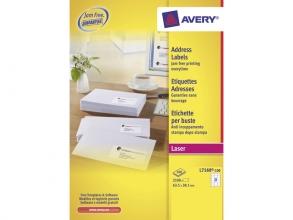 , adresetiket Avery QuickPeel 63,5x38,1 wit 100 vel 21        etiketten per vel