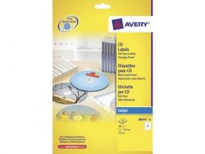 , CD etiket Avery 117mm fullsize wit 25 vel 2 etiketten per   vel