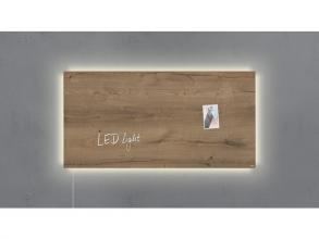 , glasmagneetbord Sigel Artverum LED 910x460x15 Natural Wood
