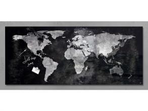 , glasmagneetbord Sigel Artverum 1300x550x12mm wereldkaart