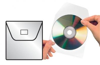 , Cd/dvd Hoes 3L 127x127mm met klep zelfklevend transparant