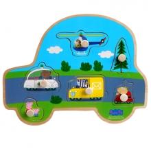 , Peppa Pig Houten puzzel met knoppen - Transport