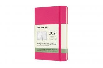 , Moleskine 12 MND Agenda - 2021 - Wekelijks - Pocket (9x14 cm) - Bougainvillea Roze - Harde Kaft