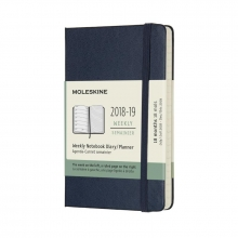 Moleskine Wochen Notizkalender, 18 Monate, 2018/2019, Pocket/A6, Hard Cover, Saphir