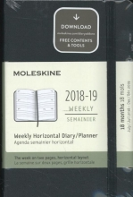 Moleskine Wochenkalender, 18 Monate, 2018/2019, Pocket/A6, Horizontal, Hard Cover, Schwarz