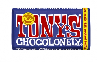 , Chocolade Tony`s Chocolonely reep 180gr donker melk pretzel toffee