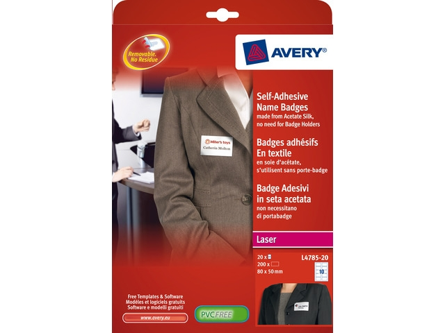 ,badge etiket Avery 50x80mm NP 20 vel 10 etiketten per vel   wit