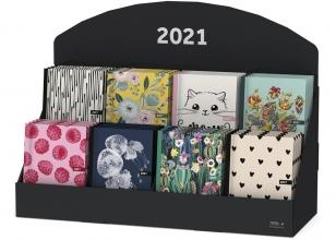 , Agenda 2021 spiraal 10x15 zalm met zwarte hartjes