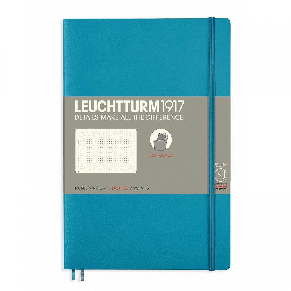 Lt358315,Leuchtturm notitieboek softcover 19x12.5 cm bullets/dots/puntjes nordic blue