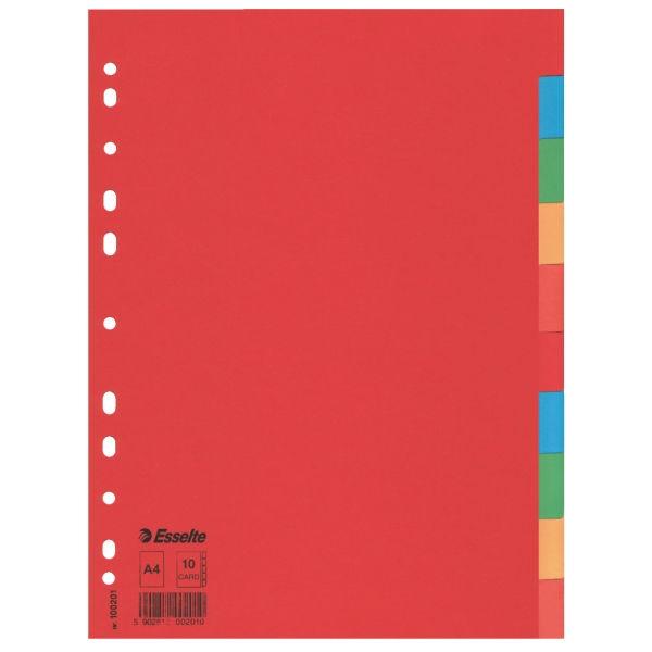 ,Tabbladen Esselte A4 11R karton 10-delig zonder voorblad