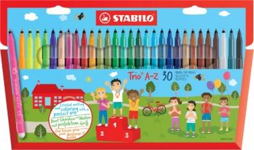 , Viltstift STABILO Trio A-Z etui à 30 kleuren