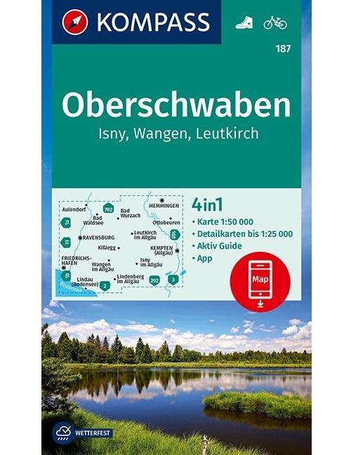 KOMPASS-Karten GmbH,KOMPASS Wanderkarte Oberschwaben, Isny, Wangen, Leutkirch 1:50 000