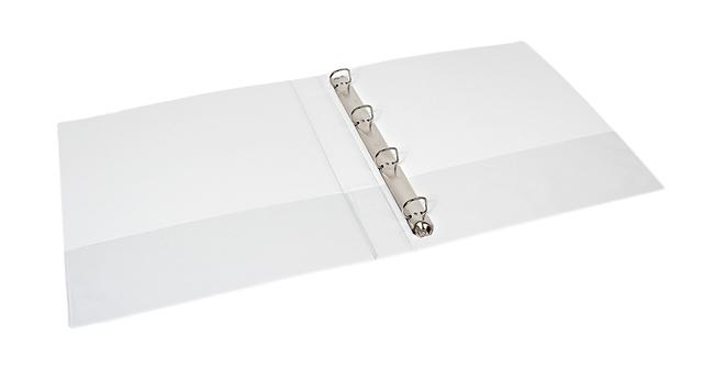 ,Presentatieringband Quantore A4 4-rings D-mech 25mm wit