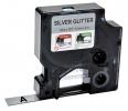 ,Labeltape Dymo 84401 D1 12mmx3m zwart op zilverglitter