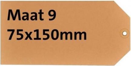 , Label karton nr9 200gr 75x150mm chamois 1000stuks