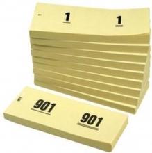 , Nummerblok 42x105mm nummering 1-1000 geel 10 stuks