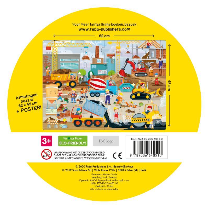 ,Machines op de bouwplaats - boek + giga puzzel