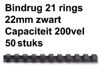 , Bindrug Fellowes 22mm 21rings A4 zwart 50stuks