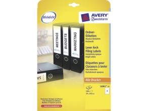 , ordnerrugetiket Avery 192x59mm 25 vel 4 etiketten per vel   wit
