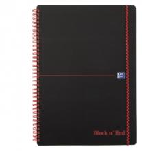 , Notitieboek Oxford Black n` Red A4 PP 70vel ruit 5mm
