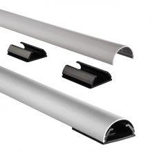 , Kabelkanaal Hama halfrond 110/3,3/1,8 cm aluminium zilver