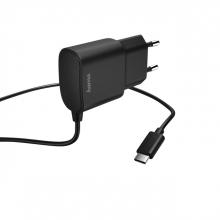 , Oplader Hama USB C 2.4A 1 meter zwart