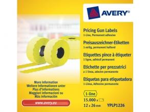 , prijstangetiketten Avery permanent 26x12mm geel 10 rol in   doos
