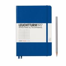 Lt342707 , Leuchtturm notitieboek medium 145x210  lijn koningsblauw