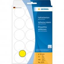 , Etiket Herma 2271 rond 32mm geel 480stuks