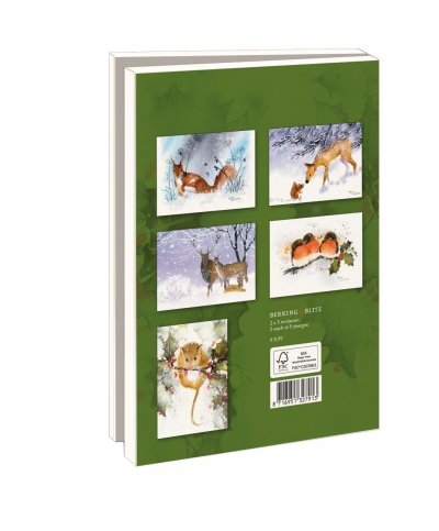 Lmc358,Kerstkaart 10 stuks met env winterdieren