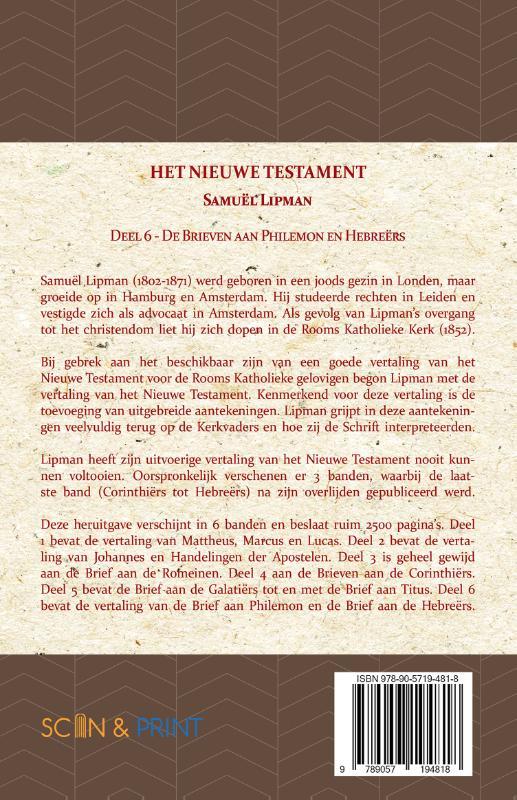 Samuël Lipman,De Brieven aan Philemon en Hebreërs
