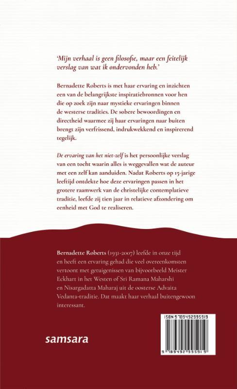 Bernadette Roberts, Hester van Toorenburg,De ervaring van het niet-zelf