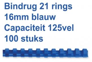 , Bindrug Fellowes 16mm 21rings A4 blauw 100stuks