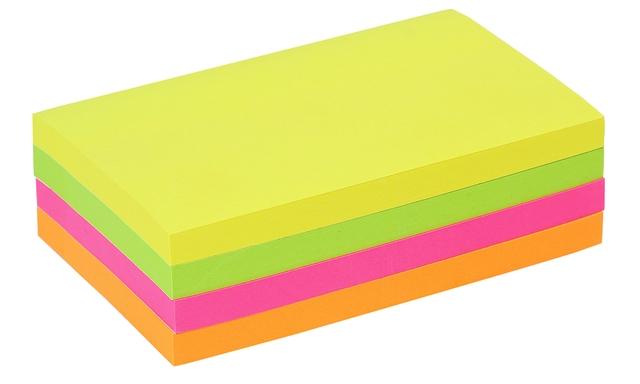 ,Memoblok Quantore 76x127mm neon assorti 4 kleuren