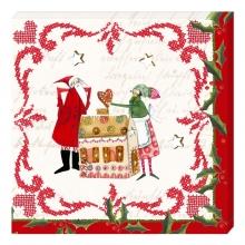 , Kerstservetten kerstpoppetjes met huis- 33x33cm