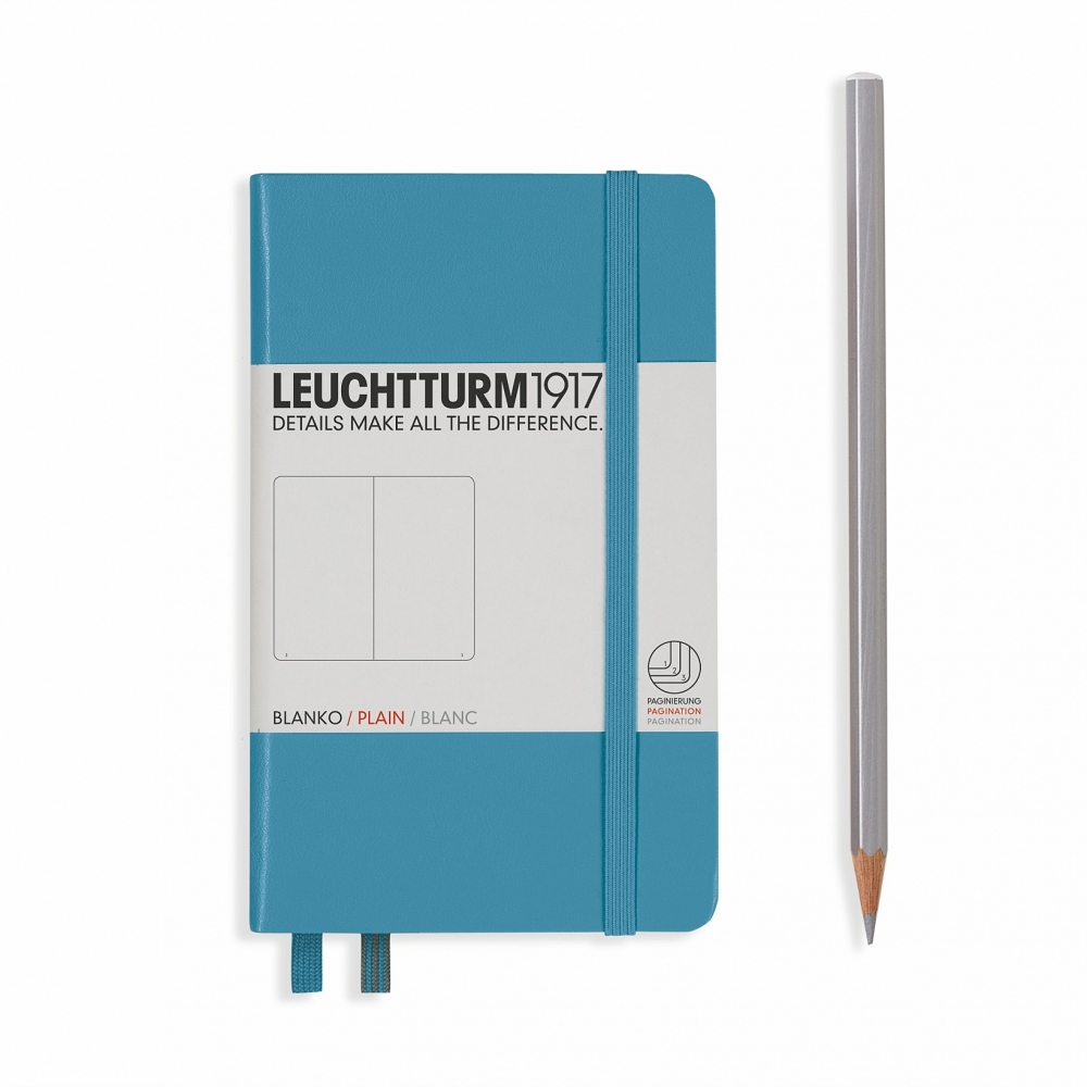 Lt354582,Leuchtturm notitieboek pocket 90x150 blanco nordic blauw
