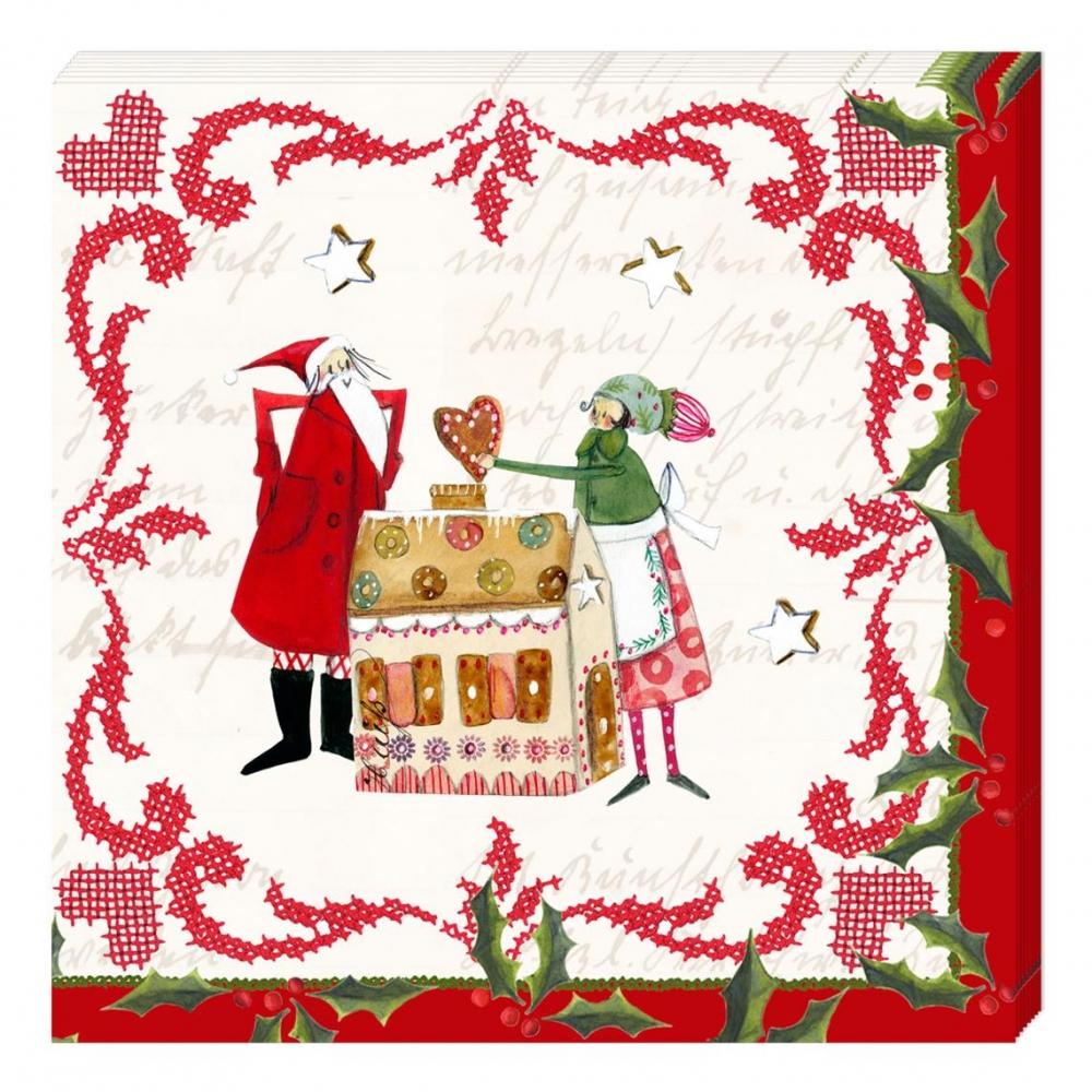 ,Kerstservetten kerstpoppetjes met huis- 33x33cm