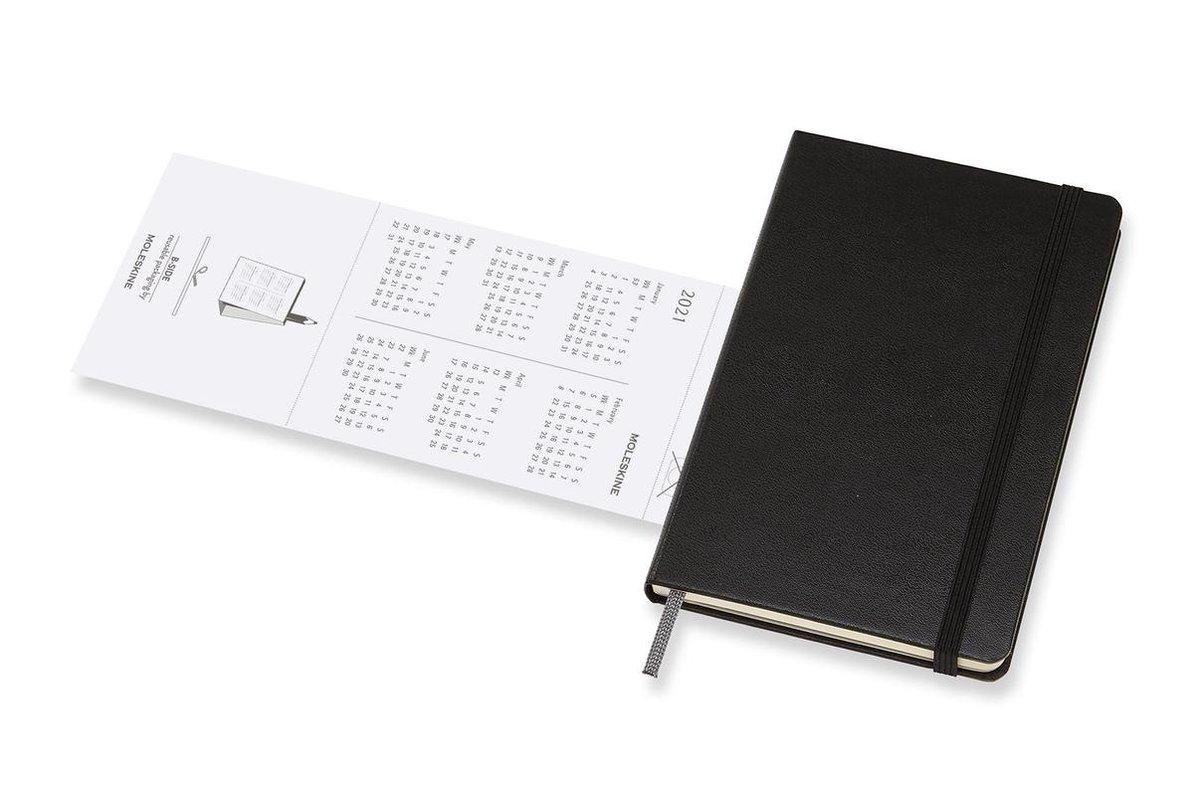,Moleskine 12 MND Agenda - 2021 - Maandelijks - Pocket (9x14 cm) - Zwart - Harde Kaft