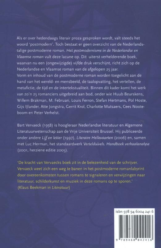 Bart Vervaeck,Het postmodernisme in de Nederlandse en Vlaamse roman