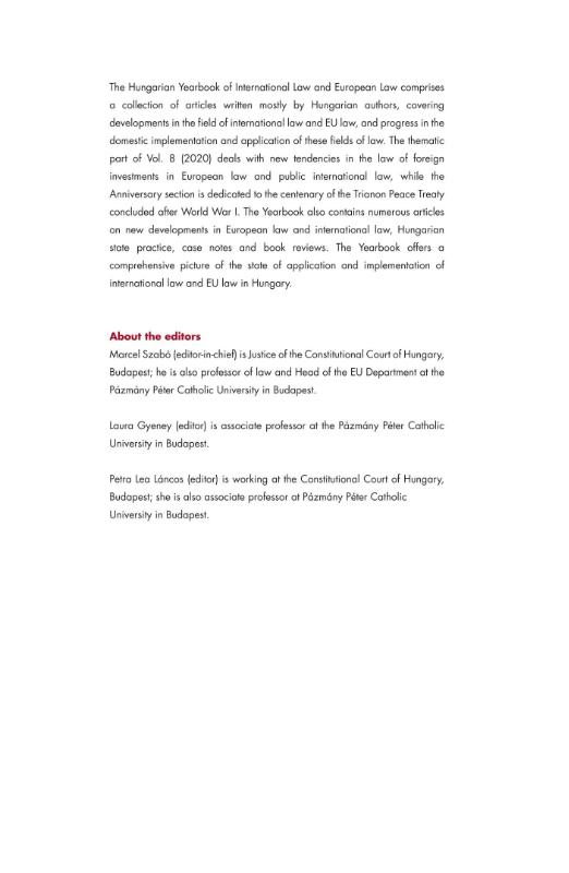 ,Hungarian Yearbook of International and European Law 2020