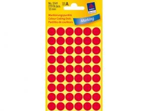 , Etiket Avery Zweckform 3141 rond 12mm rood 270stuks