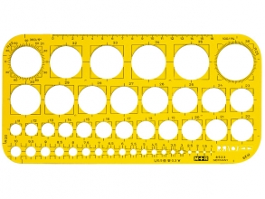 , Sjabloon M+R 852306 cirkels 1-36mm transparant geel