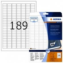, Etiket Herma 10001 A4 25.4x10mm verwijderbaar wit