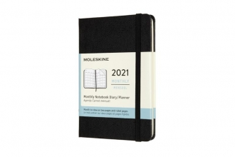 , Moleskine 12 MND Agenda - 2021 - Maandelijks - Pocket (9x14 cm) - Zwart - Harde Kaft