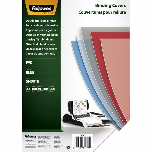 ,Voorblad Fellowes A4 PVC 200micron transparant blauw 100stuks