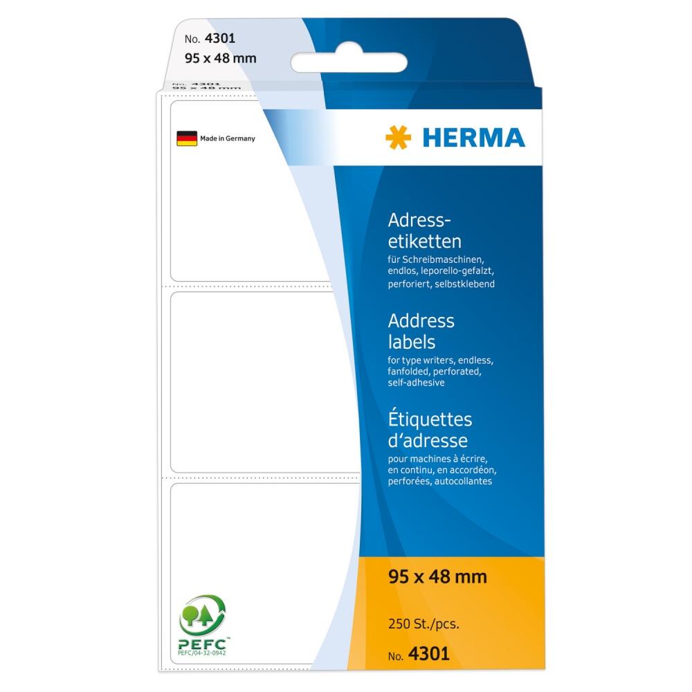 ,Etiket Herma adres 4301 95x48mm 250stuks zig-zag