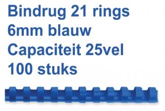 , Bindrug Fellowes 6mm 21rings A4 blauw 100stuks