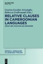 Atindogbé, Gratien Gualbert,   Grollemund, Rebecca Relative Clauses in Cameroonian Languages