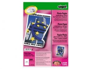 , fotopapier Sigel kleurenlaser A4 hoogwit glans 200gr 200vel